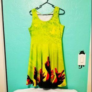 BOGO  Neon green skater dress.